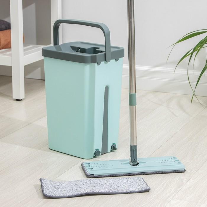Набор для уборки: ведро с отсеками для полоскания и отжима 14 л, швабра плоская, доп. насадка