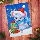 """Аппликация пайетками """"Веселый мышонок"""" с клеевым слоем + 6 цветов пайеток"""