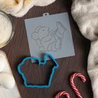 """Форма для вырезания печенья и трафарет """"Мышка с коньками"""", цвет МИКС"""