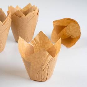 Форма бумажная 'Тюльпан', бежевый, 5 х 8 см Ош