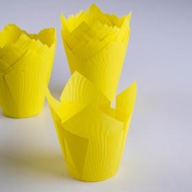 """Форма бумажная """"Тюльпан"""", жёлтый, 5 х 8 см"""