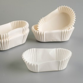 Тарталетка, форма овал, белая, 3 х 6,5 х 2,25 см