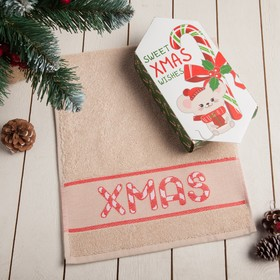 "Полотенце махровое ""Christmas"" 30х70 см 100% хлопок, 370гр/м2"