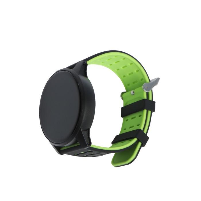 """Смарт-часы Qumann QSW 01, цветной дисплей 1.3"""", черно-зелёные"""