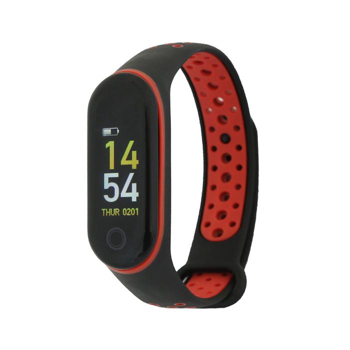 """Фитнес браслет Qumann QSB 10, 0.96"""", IP67, цветной экран, датчик давления, чёрно-красный 45245"""