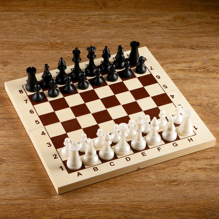 Шахматы (доска дерево 43х43 см, фигуры пластик, король h=9.7 см, пешка h=4.2 см)