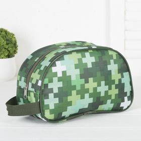 Cosmetic bag traveling, zipped section, green