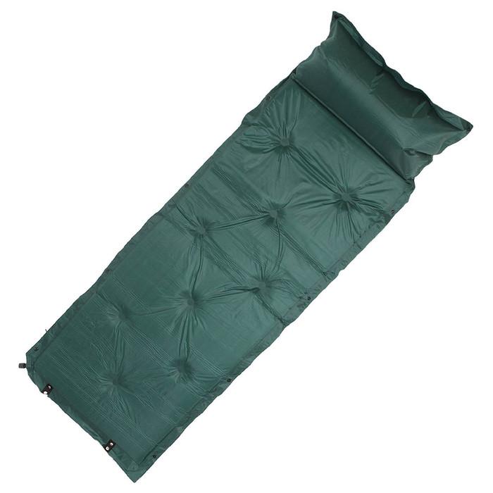 Коврик туристический самонадувающийся, размер 183 х 57 х 2,5 см, цвет зелёный