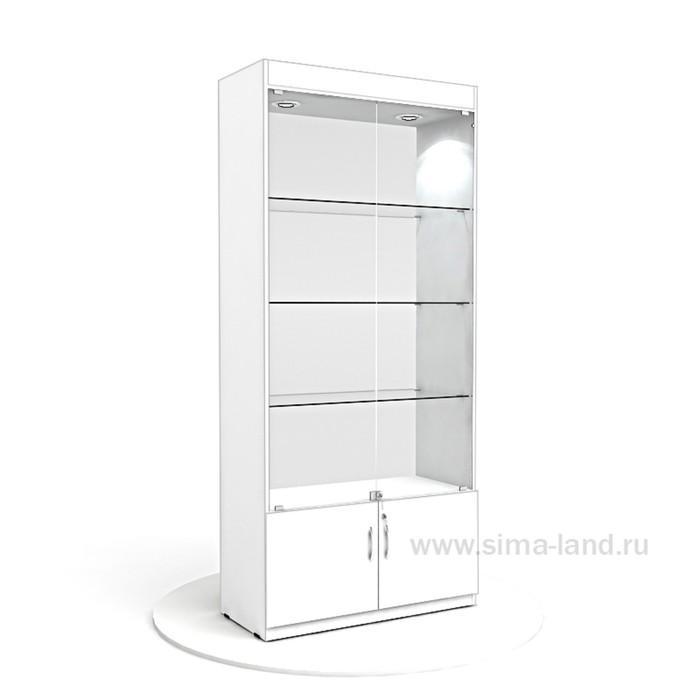 Витрина из ЛДСП 2000х900х400, цвет белый, стенка стекло