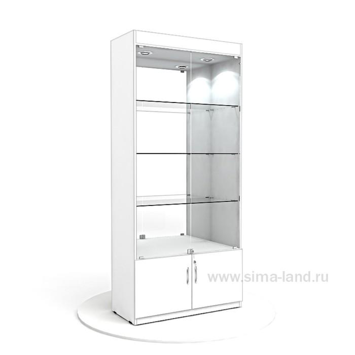 Витрина из ЛДСП 2000х900х400, цвет белый, стенка зеркало