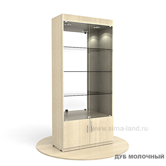 Витрина из ЛДСП 2000х900х400, цвет дуб молочный, стенка зеркало