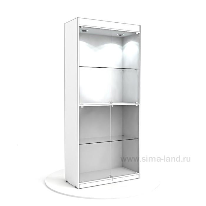 Витрина из ЛДСП 2000х900х400, цвет белый, 2 стекл.полки , стенка ХДФ