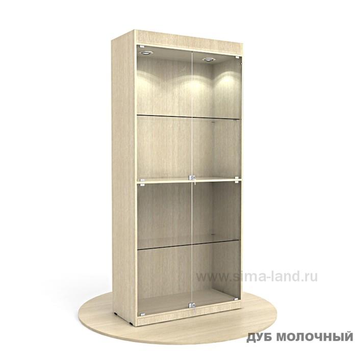 Витрина из ЛДСП 2000х900х400, цвет дуб молочный, 2 стекл.полки , стенка ХДФ