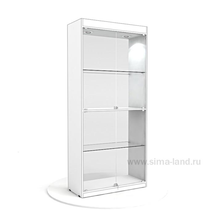 Витрина из ЛДСП 2000х900х400, цвет белый, 2 стекл.полки, стенка стекло
