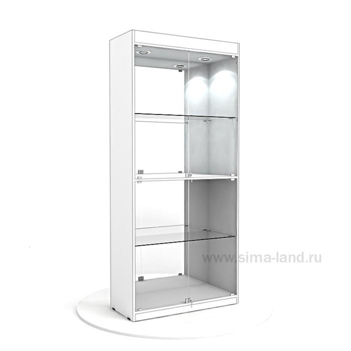 Витрина из ЛДСП 2000х900х400, цвет белый, 2 стекл.полки, стенка зеркало
