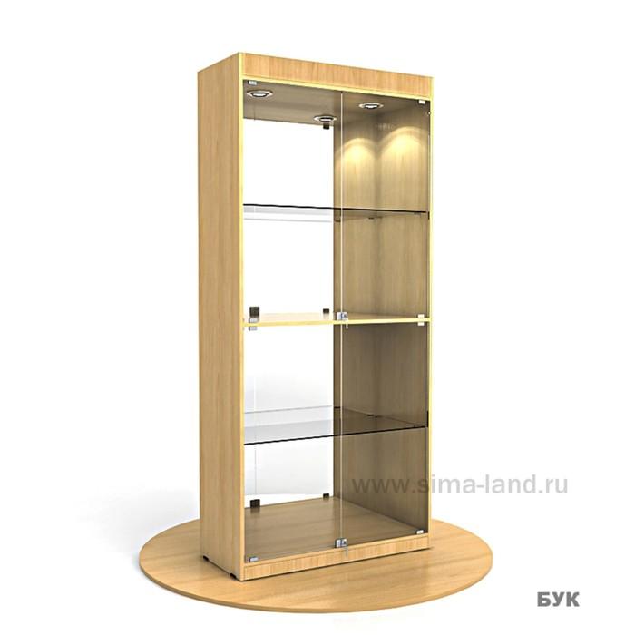 Витрина из ЛДСП 2000х900х400, цвет бук, 2 стекл.полки, стенка зеркало