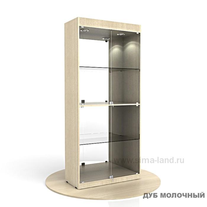 Витрина из ЛДСП 2000х900х400, цвет дуб молочный, 2 стекл.полки, стенка зеркало