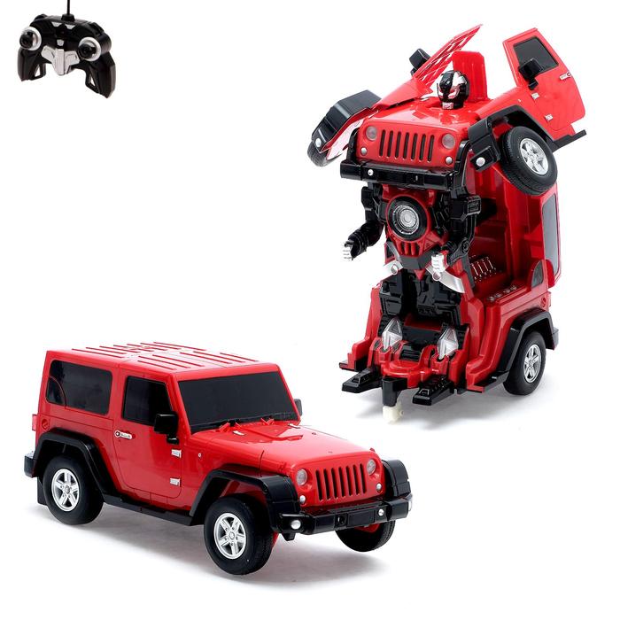 Робот-трансформер радиоуправляемый Jeep Wrangler, работает от аккумулятора, масштаб 1:14, mz 2825P, цвет красный