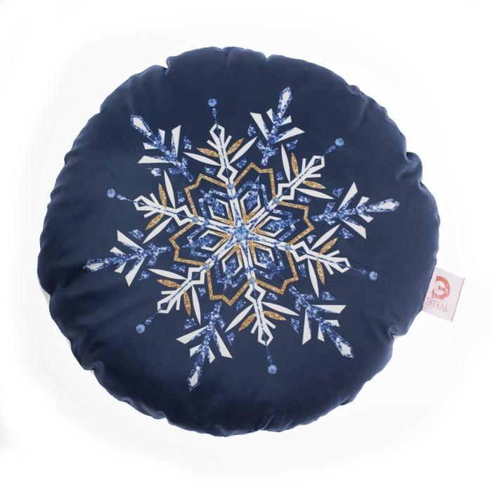 """Подушка """"Этель"""" Снежинка 45х45 см, велюр, 100% п/э"""