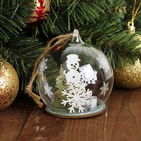 """Декор с подсветкой в стекле """"Праздничный шар"""""""