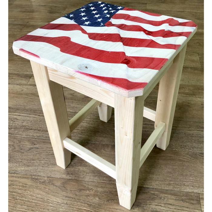 """Табурет с УФ печатью """"Американский флаг"""", 30×30×42 см"""