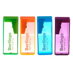 "Точилка 1 отверстие с контейнером Berlingo ""NeonBox"", пласт, микс 252131"