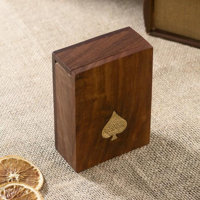 """Колода карт в деревянном чехле """"Тан"""", тёмная"""