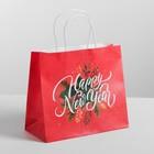 Пакет подарочный крафт Happy New Year, 25 х 22 х 12 см