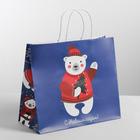 Пакет подарочный крафт «Новогодние медвежата», 32 х 28 х 15 см