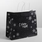 Пакет подарочный крафт «Чудеса новогодней ночи», 25 х 22 х 12 см