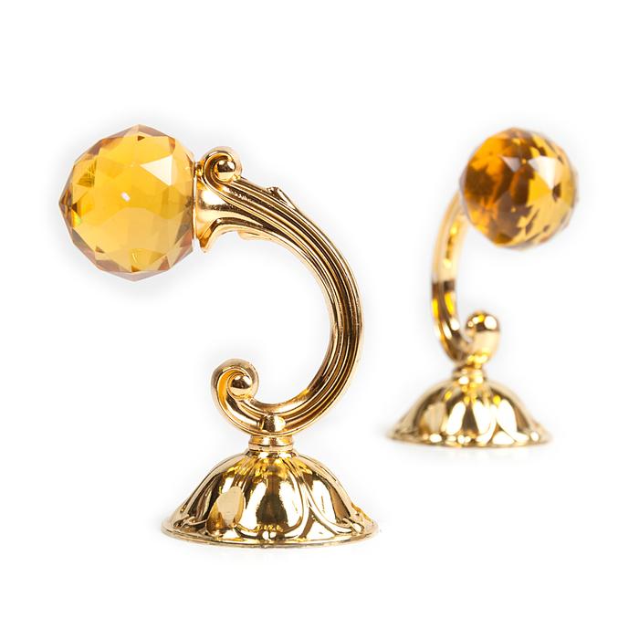 Держатель для штор «Шар», 2 шт, 10 см, цвет золото, цвет вставки жёлтый