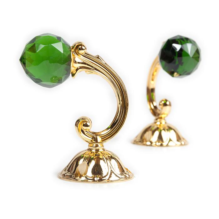 Держатель для штор «Шар», 2 шт, 10 см, цвет золото, цвет вставки зелёный