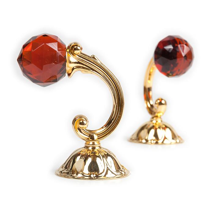 Держатель для штор «Шар», 2 шт, 10 см, цвет золото, цвет вставки красный