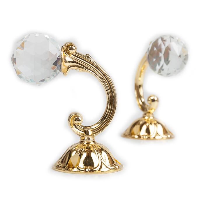 Держатель для штор «Шар», 2 шт, 10 см, цвет золото, цвет вставки прозрачный