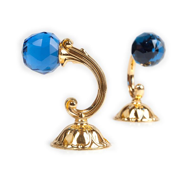 Держатель для штор «Шар», 2 шт, 10 см, цвет золото, цвет вставки синий
