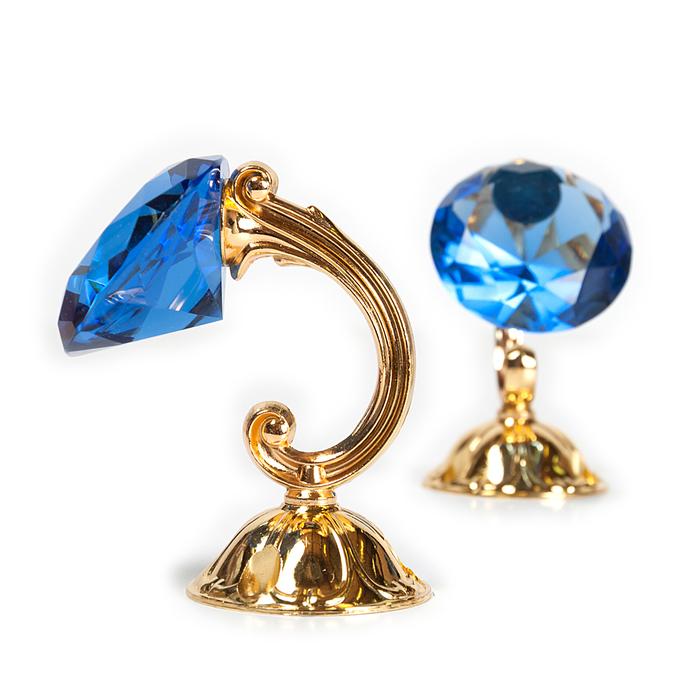 Держатель для штор «Кристал», 2 шт, 10 см, цвет золото, цвет вставки синий