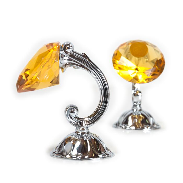 Держатель для штор «Кристал», 2 шт, 10 см, цвет серебро, цвет вставки жёлтый