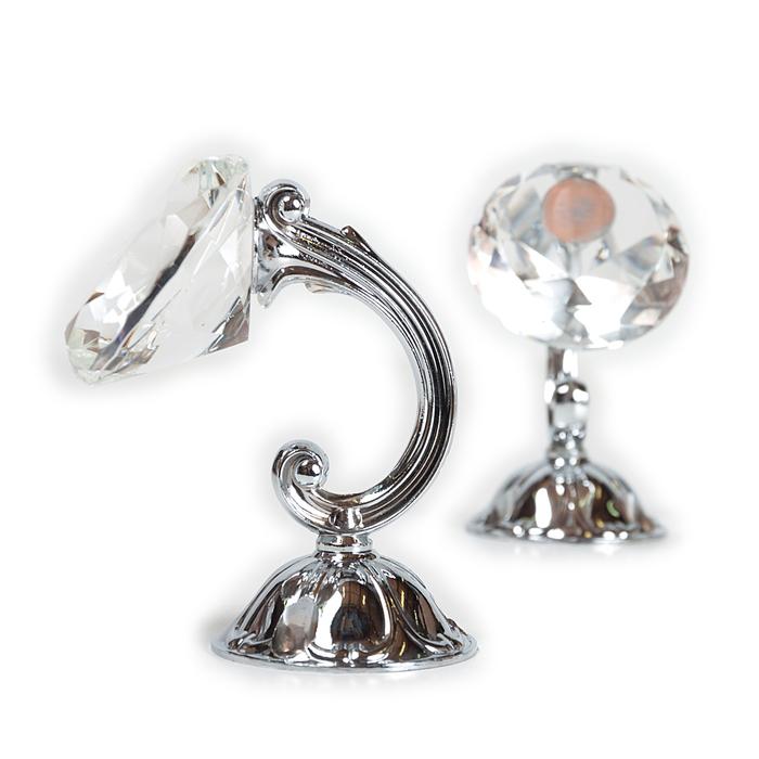 Держатель для штор «Кристал», 2 шт, 10 см, цвет серебро, цвет вставки прозрачный