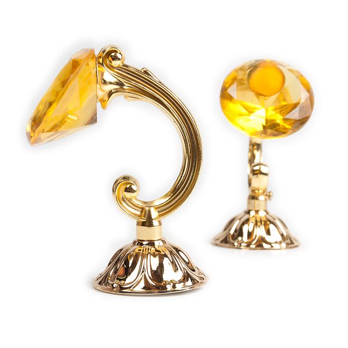 Держатель для штор «Кристал», 2 шт, 12 см, цвет золото, цвет вставки жёлтый