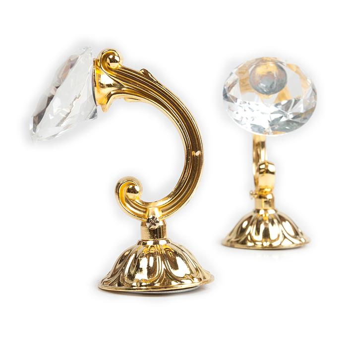 Держатель для штор «Кристал», 2 шт, 12 см, цвет золото, цвет вставки прозрачный