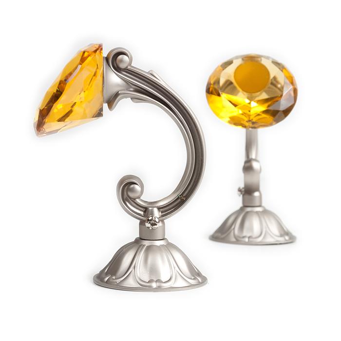 Держатель для штор «Кристал», 2 шт, 12 см, цвет сатин, цвет вставки жёлтый