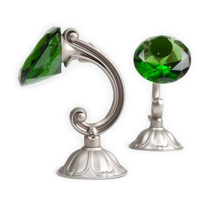 Держатель для штор «Кристал», 2 шт, 12 см, цвет сатин, цвет вставки зелёный