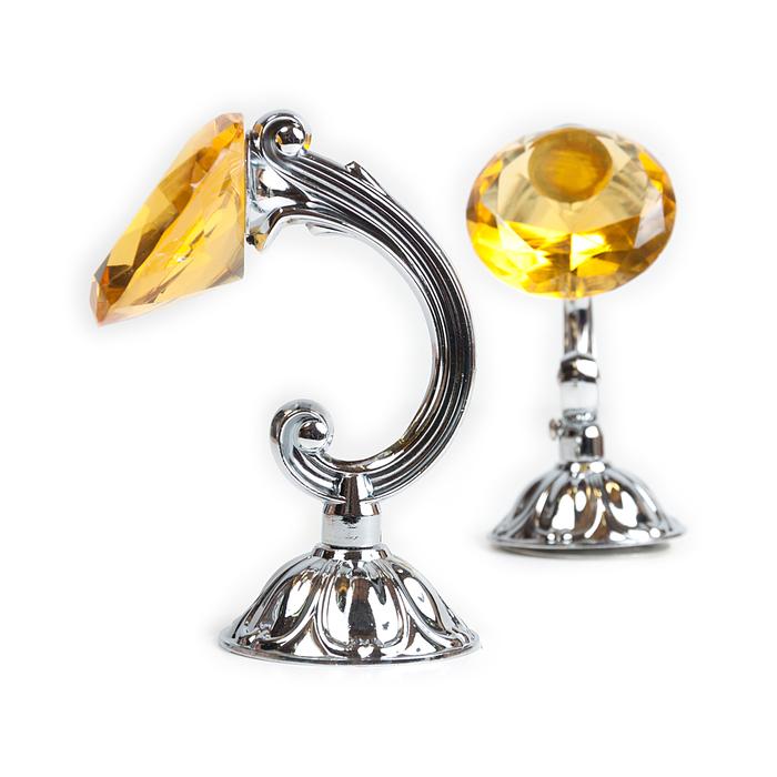 Держатель для штор «Кристал», 2 шт, 12 см, цвет серебро, цвет вставки жёлтый