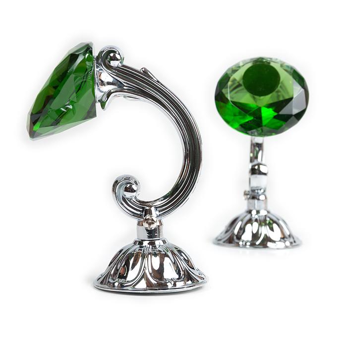 Держатель для штор «Кристал», 2 шт, 12 см, цвет серебро, цвет вставки зелёный