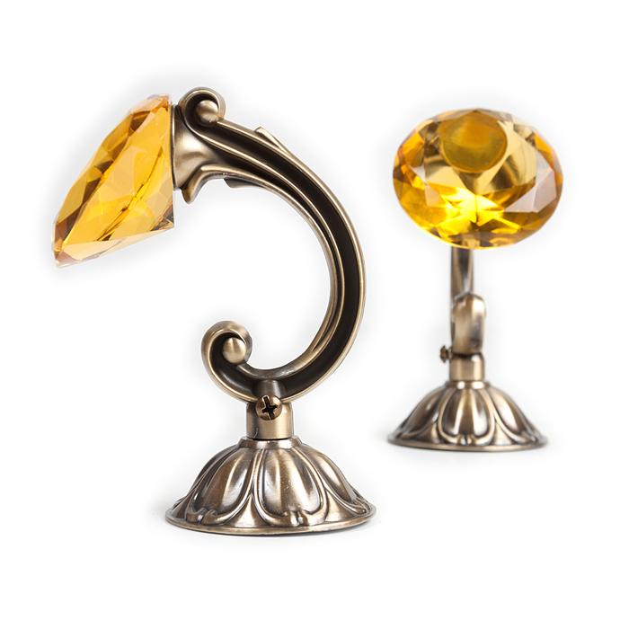 Держатель для штор «Кристал», 2 шт, 12 см, цвет старое золото, цвет вставки жёлтый