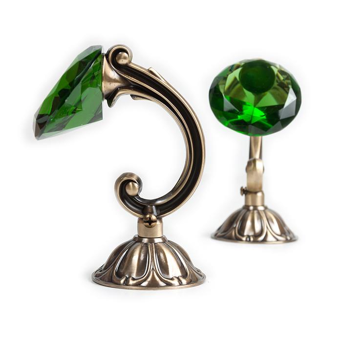 Держатель для штор «Кристал», 2 шт, 12 см, цвет старое золото, цвет вставки зелёный