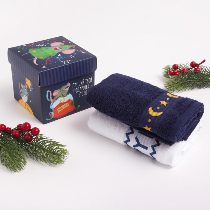 """Набор махровых полотенец """"Новый год на носу"""" 30х70 см - 2 шт, 100% хлопок, 370 гр/м2"""