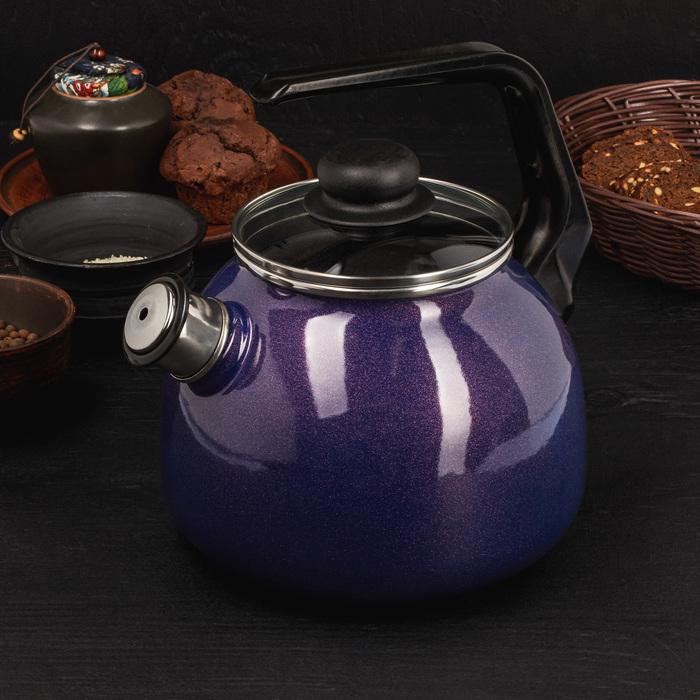 """Чайник сферический со свистков 3 л """"Galaxy"""", фиолетовый перламутр"""