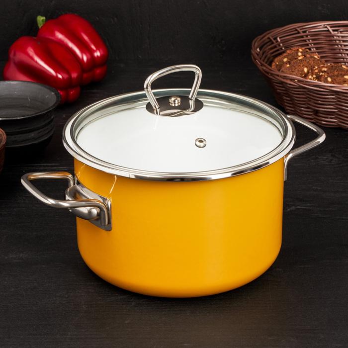 Кастрюля цилиндрическая 3 л Mustard, цвет горчица