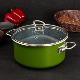 Кастрюля Agatha, 4 л, с антипригарным покрытием, цвет зелёный